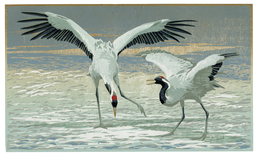 Dansende kraanvogels, 2015, houtsnede, gedrukt op Awagami Mingeishi, 220 x 370 mm
