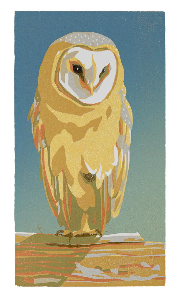Kerkuil 2020, houtsnede, gedrukt op Somerset Saunders, 165 x 90 mm